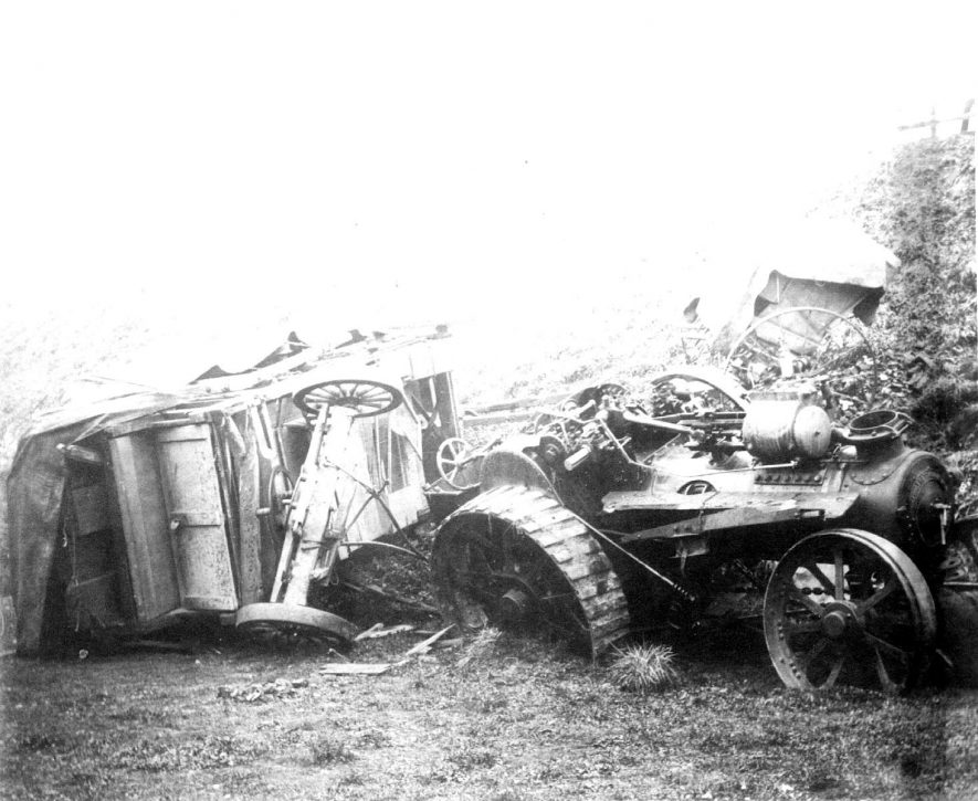 Wreckage of a Bomford and Evershed agricultural steam engine, Salford Priors. 1900s |  IMAGE LOCATION: (Warwickshire County Record Office)