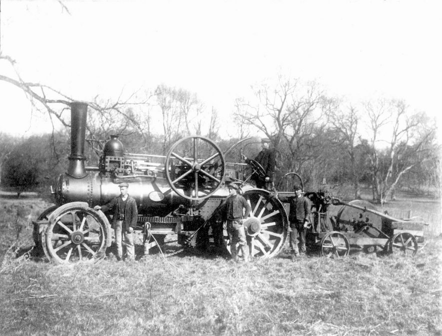 A Bomford and Evershed agricultural steam engine and workers, Salford Priors.  1900s |  IMAGE LOCATION: (Warwickshire County Record Office)