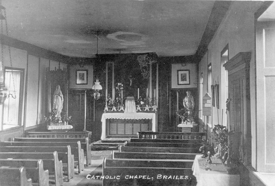 Interior of Catholic church, Lower Brailes.  1920s |  IMAGE LOCATION: (Warwickshire County Record Office)