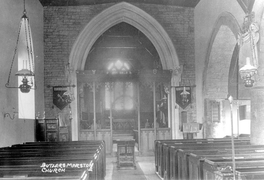 SS Peter & Paul Church interior, Butlers Marston.  1920s |  IMAGE LOCATION: (Warwickshire County Record Office)