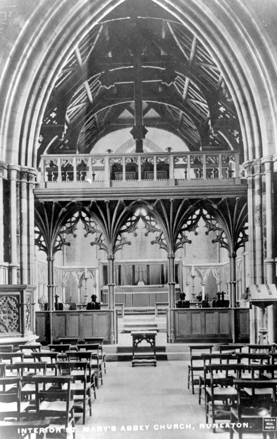 Interior of St Mary's Abbey Church, Nuneaton.  1900s |  IMAGE LOCATION: (Warwickshire County Record Office)