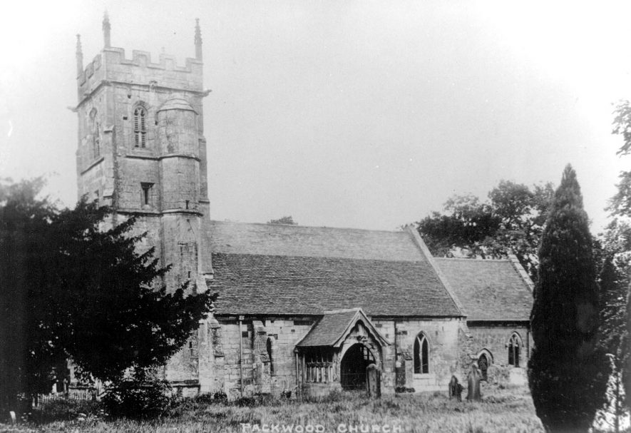 St Giles' Church exterior, Packwood.  1920s |  IMAGE LOCATION: (Warwickshire County Record Office)