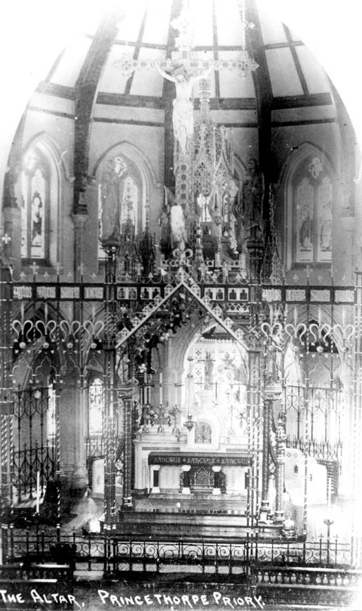 The Altar at Princethorpe Priory.  1910s |  IMAGE LOCATION: (Warwickshire County Record Office)
