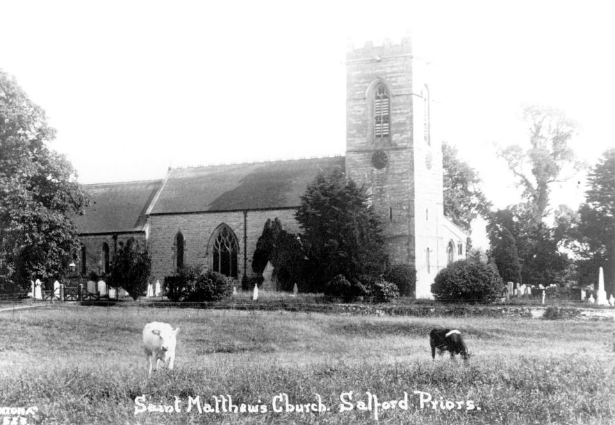 St Matthew's Church exterior, Salford Priors.  1920s |  IMAGE LOCATION: (Warwickshire County Record Office)