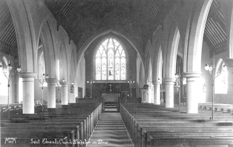 St Edmond's Church interior, Shipston on Stour.  1920s |  IMAGE LOCATION: (Warwickshire County Record Office)