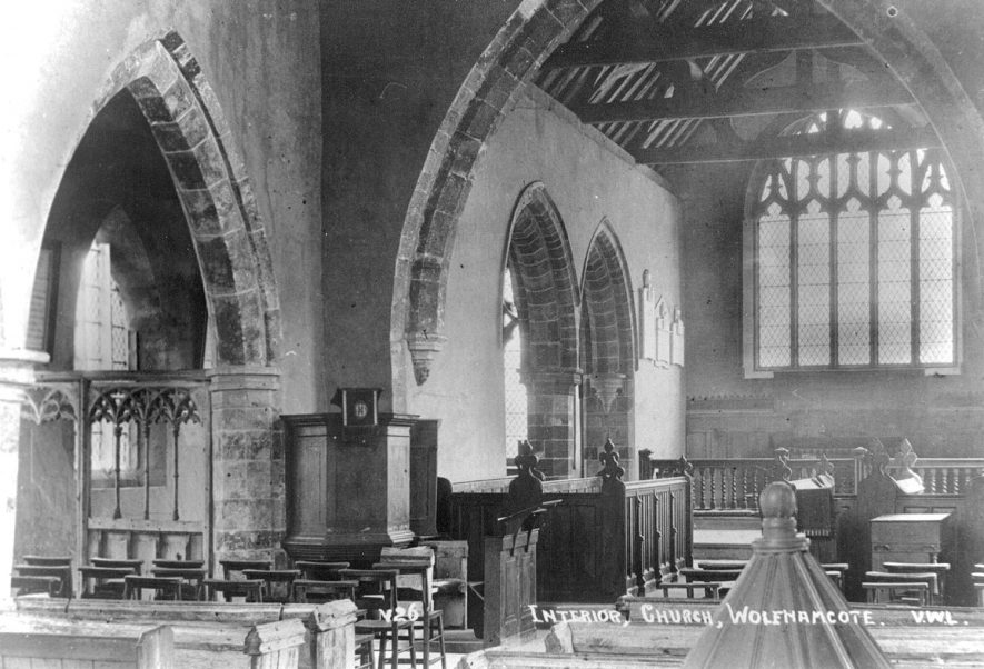 St Peter's Church interior, now redundant, Wolfhampcote.  1930s |  IMAGE LOCATION: (Warwickshire County Record Office)