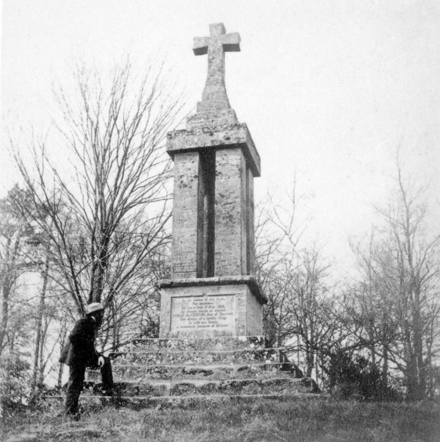 The Gaveston Cross on Blacklow Hill which marks the spot where the execution of Piers Gaveston took place, Warwick.  1860s    IMAGE LOCATION: (Warwickshire County Record Office)