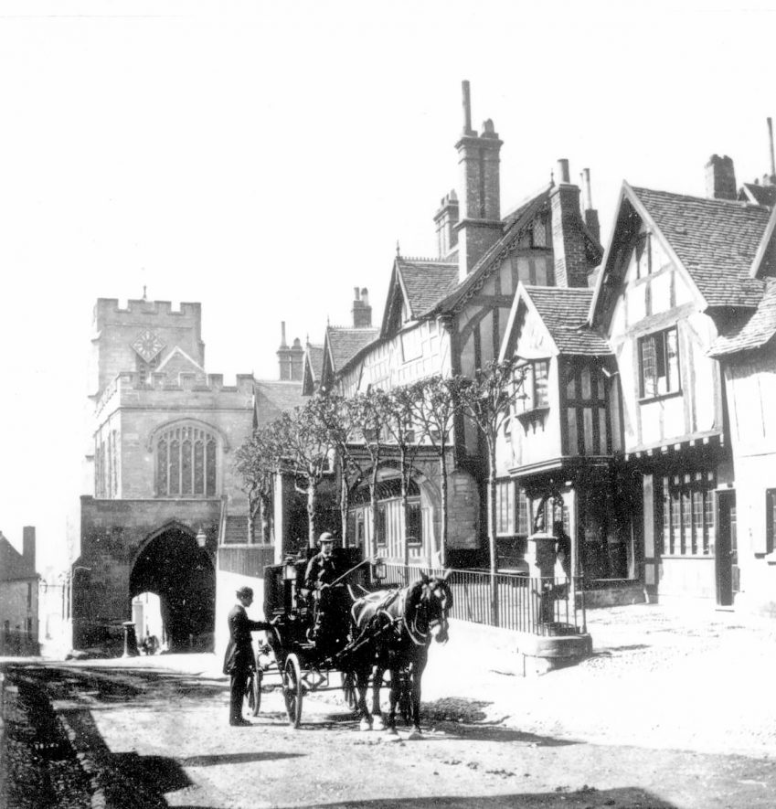 View of the West Gate and the Leycester Hospital, Warwick.  1860s |  IMAGE LOCATION: (Warwickshire County Record Office)