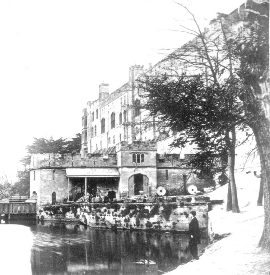 Warwick Castle and Grist Mill.  1860s    IMAGE LOCATION: (Warwickshire County Record Office)