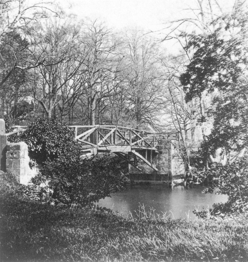 Castle Park rustic bridge to the island in the River Avon, Warwick.  1860s |  IMAGE LOCATION: (Warwickshire County Record Office)