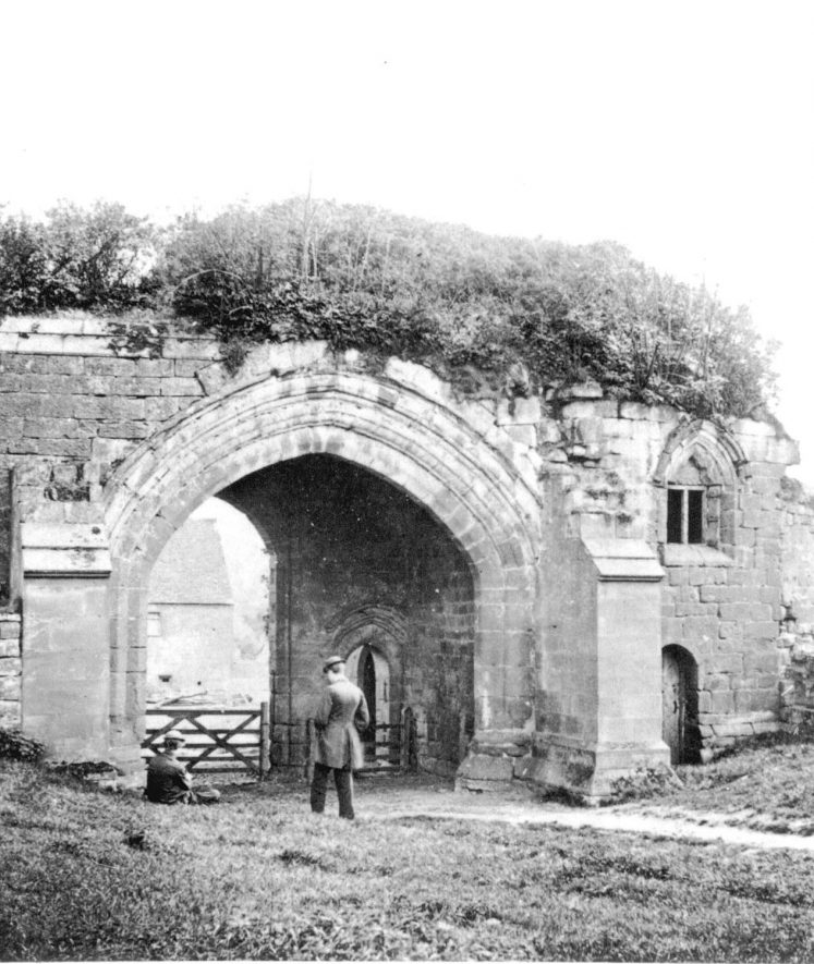 Gateway to the ancient monastery at Kenilworth.  1860s |  IMAGE LOCATION: (Warwickshire County Record Office)