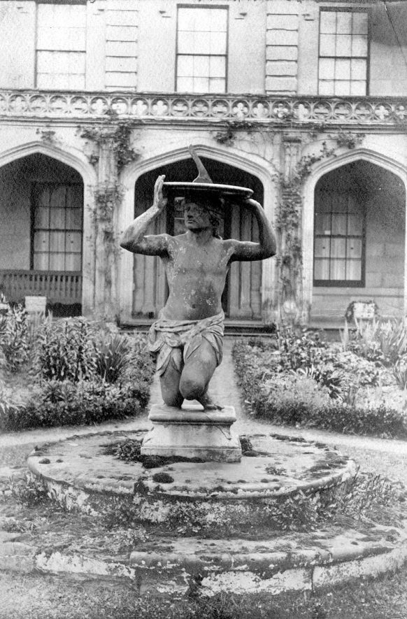 Statue in Guy's Cliffe garden, Warwick.  1900s |  IMAGE LOCATION: (Warwickshire County Record Office)