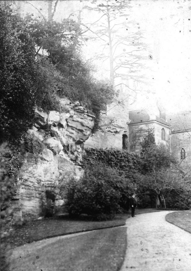 Guy's Cliffe from the river walk, Warwick.  1900s |  IMAGE LOCATION: (Warwickshire County Record Office)