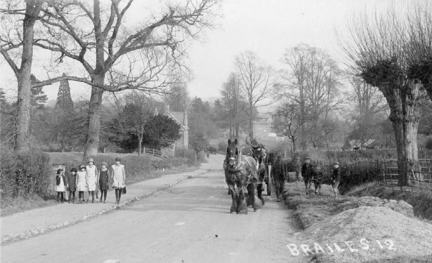 A road scene with a two horse timber wagon, Upper Brailes.  1910s |  IMAGE LOCATION: (Warwickshire County Record Office)