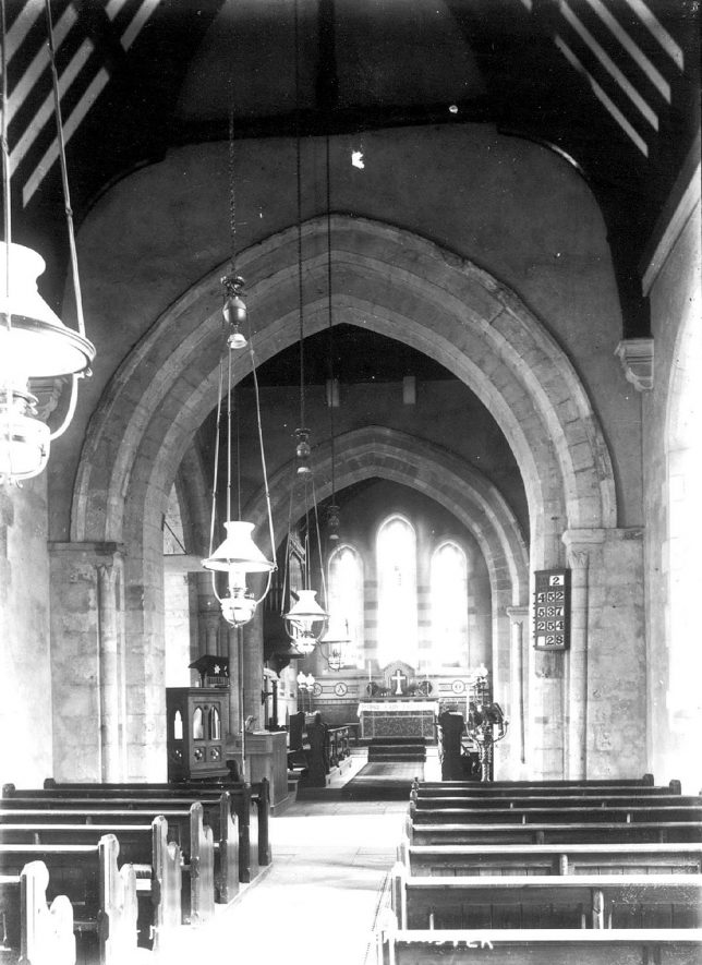 St Mary's church interior, Alderminster.  1900s |  IMAGE LOCATION: (Warwickshire County Record Office)