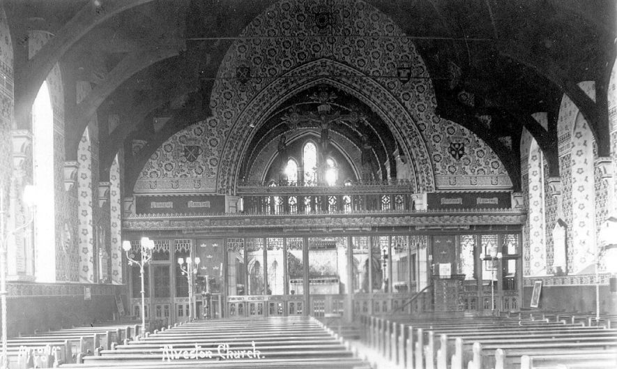 St James Church interior, looking east, Alveston.  1920s |  IMAGE LOCATION: (Warwickshire County Record Office)