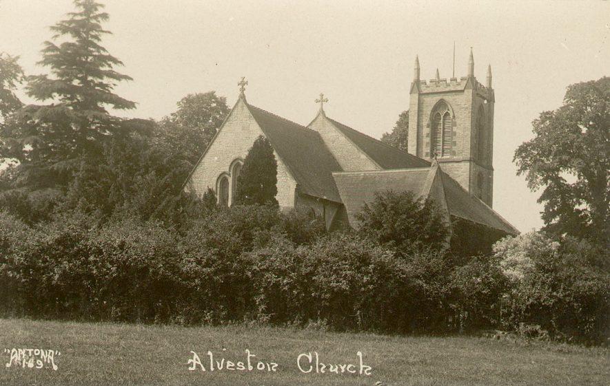 St James' Church exterior, Alveston.  1920s |  IMAGE LOCATION: (Warwickshire County Record Office)