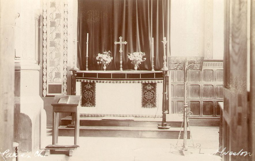The altar at St James' Church, Alveston.  1900s |  IMAGE LOCATION: (Warwickshire County Record Office)