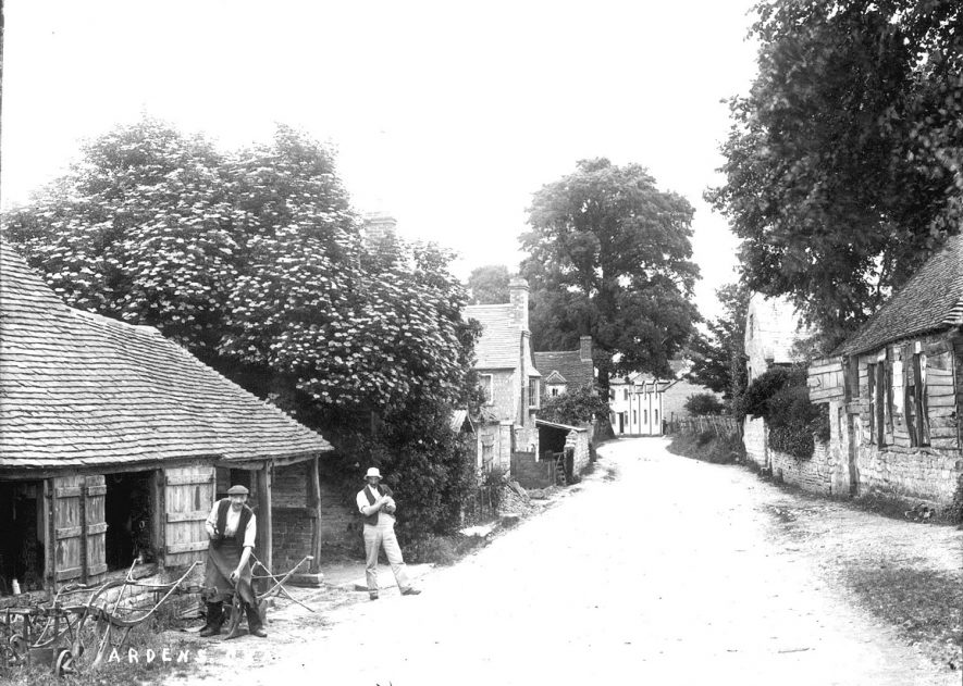 A street in Ardens Grafton showing the smithy.  1920s |  IMAGE LOCATION: (Warwickshire County Record Office)