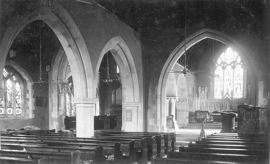 St Mary's church interior, Arrow.  1900s |  IMAGE LOCATION: (Warwickshire County Record Office)