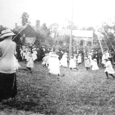 Ashorne.  Girls dancing around the Maypole