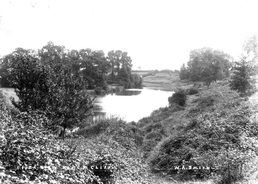 View of the River Arrow at Black Cliffs said to be near Ardens Grafton.  1900s |  IMAGE LOCATION: (Warwickshire County Record Office)