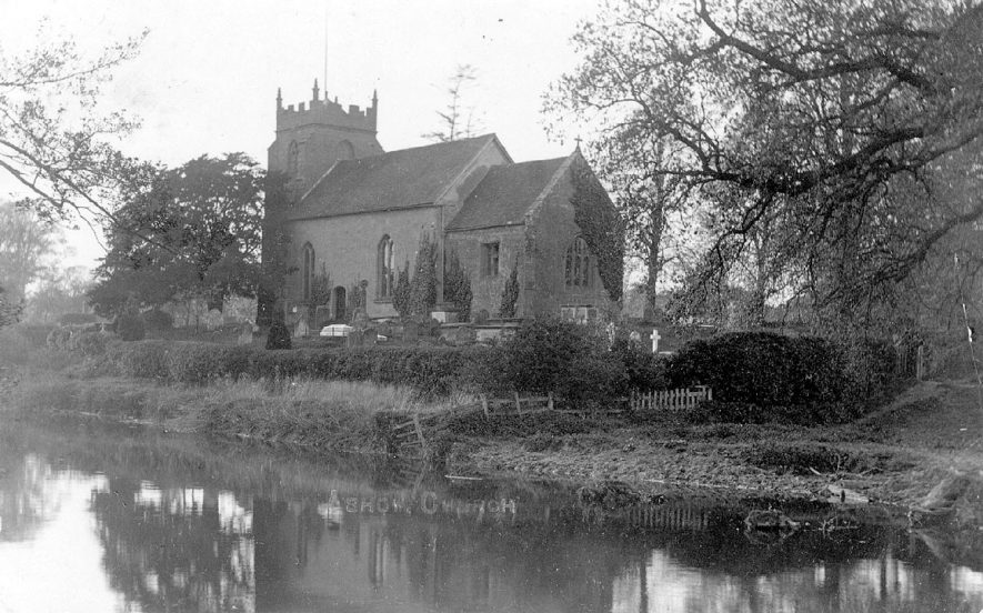 Church dedicated to The Assumption of Our Lady, and the River Avon at Ashow.  1900s |  IMAGE LOCATION: (Warwickshire County Record Office)