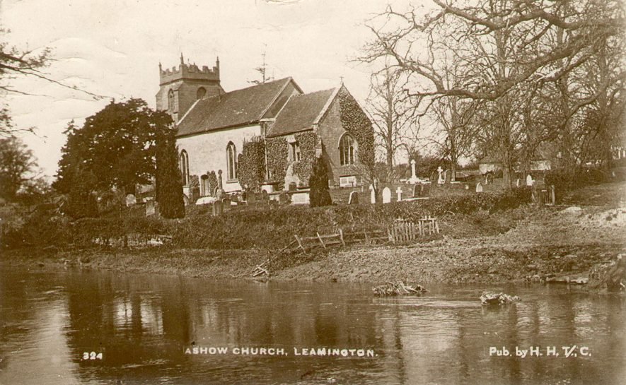The Assumption of Our Lady Church and the river Avon at Ashow.  1910s |  IMAGE LOCATION: (Warwickshire County Record Office)