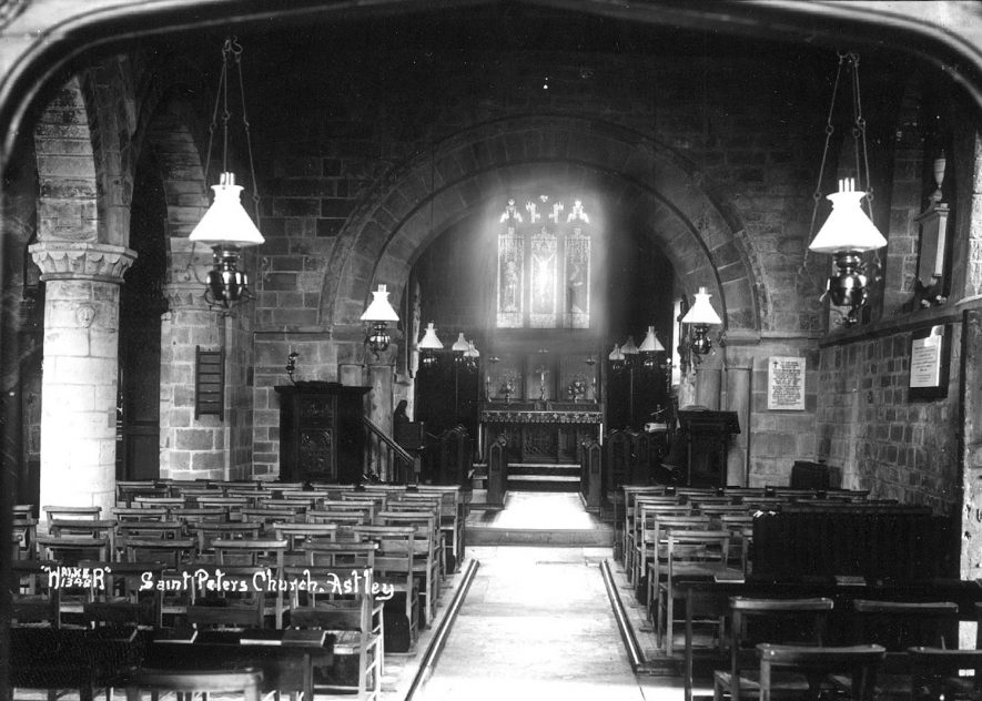 Interior of Astley church. 1900s[This is not the interior of St Mary the Virgin Church in Astley, Warwickshire, but that of St Peter's Church near to Stourport, Worcestershire] |  IMAGE LOCATION: (Warwickshire County Record Office)