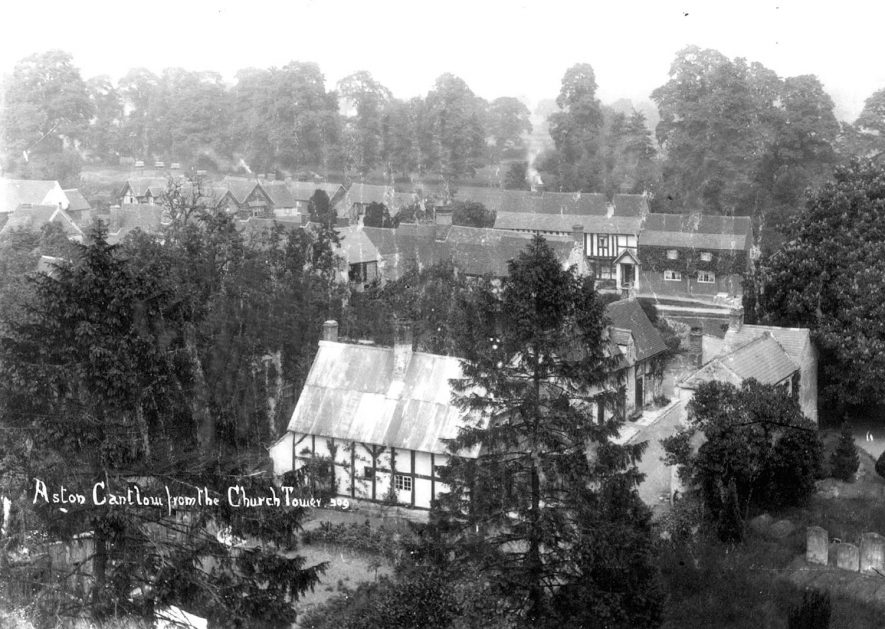 View of Aston Cantlow village from the church tower.  1900s |  IMAGE LOCATION: (Warwickshire County Record Office)