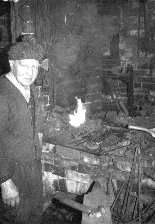 Harry Jackson at his forge in Beausale, the only working smithy in the area. C. 1960s[It is believed the Jackson family werementioned in a Romany Gypsy book called