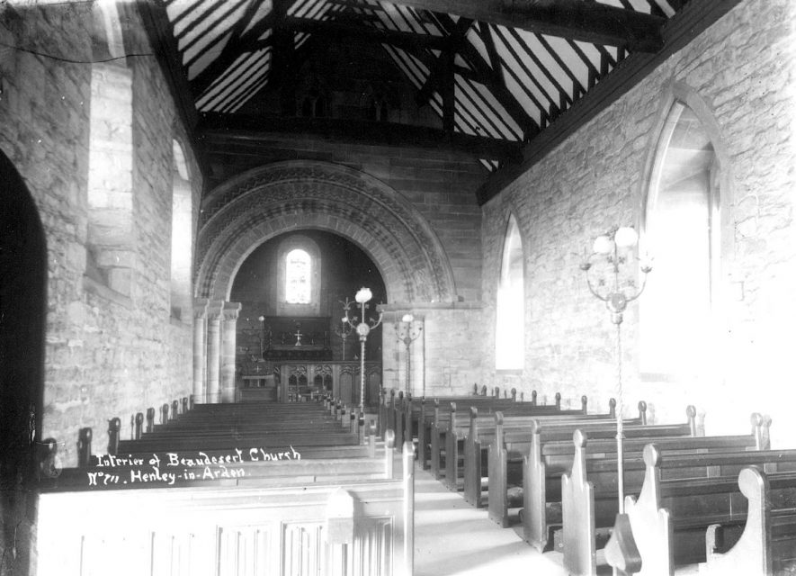 Interior of St Nicholas' Church, Beaudesert, looking east.  1900s |  IMAGE LOCATION: (Warwickshire County Record Office)