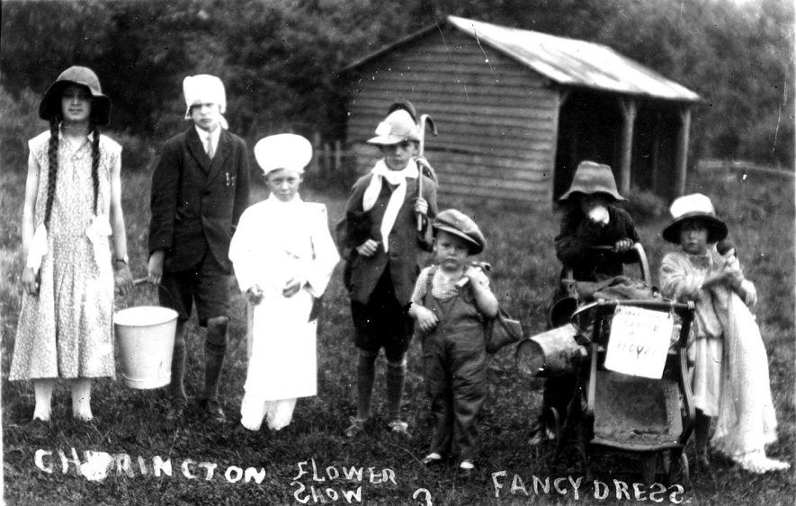Children in fancy dress at Cherington flower show.  1910s |  IMAGE LOCATION: (Warwickshire County Record Office)