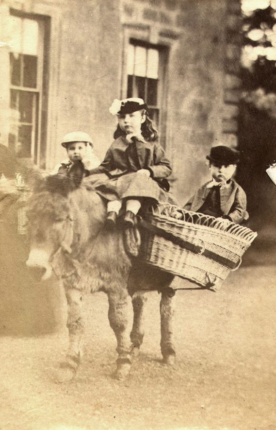 Three unknown children on a Shetland pony, possibly outside Cherington House.  1880/90s    IMAGE LOCATION: (Warwickshire County Record Office)