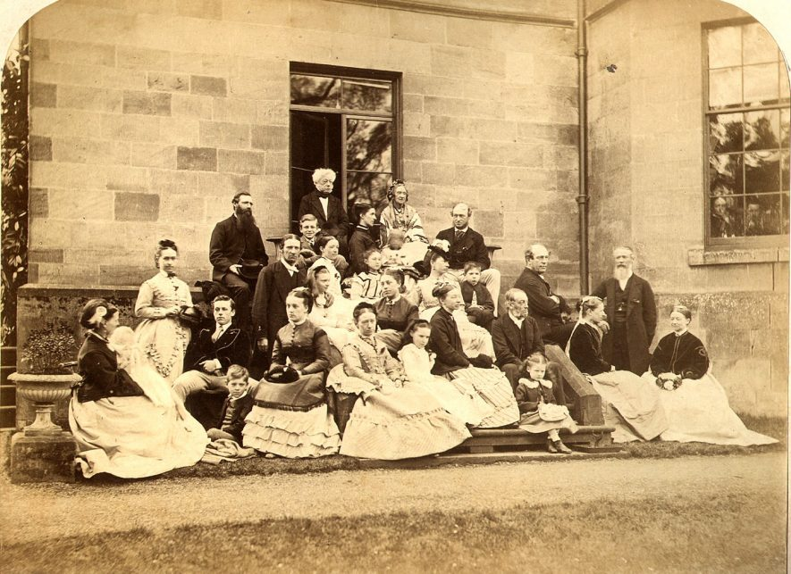 Mr and Mrs Dickins of Cherington House on their golden wedding anniversary in 1871. They are pictured outside Cherington House surrounded by immediate and extended family.    IMAGE LOCATION: (Warwickshire County Record Office) PEOPLE IN PHOTO: Dickins, Mrs, Dickins, Mr, Dickins as a surname