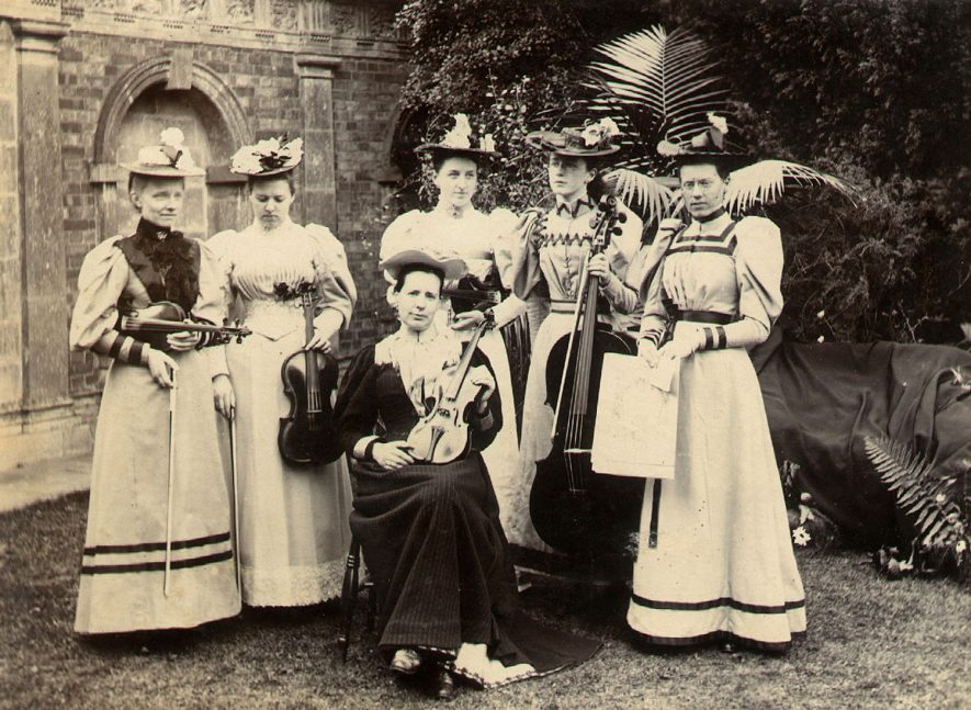 A group of ladies with their musical instruments, Cherington.  1894 |  IMAGE LOCATION: (Warwickshire County Record Office)