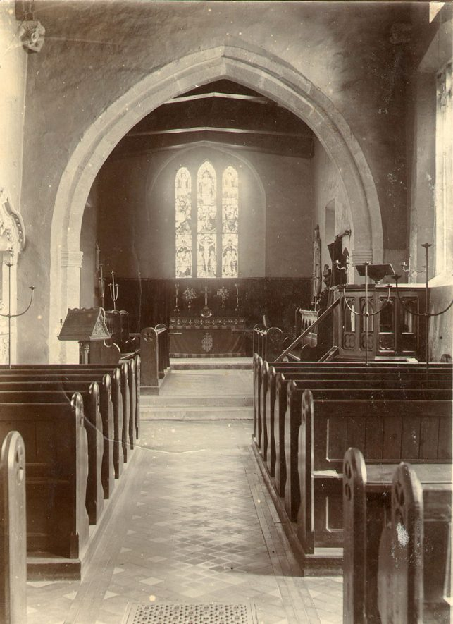 Interior of St John the Baptist church at Cherington.  1895 |  IMAGE LOCATION: (Warwickshire County Record Office)