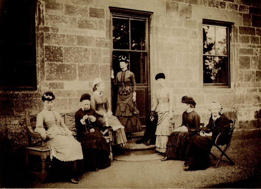Group of ladies outside Cherington House. 1890s.  From left - Lucy, Louisa Furneaux, Selina, Carry, Edith Bustler, Alice Furneaux and Mrs Dickins. |  IMAGE LOCATION: (Warwickshire County Record Office) PEOPLE IN PHOTO: Furneaux, Louisa, Furneaux, Alice, Furneaux as a surname, Dickins, Mrs, Dickins as a surname