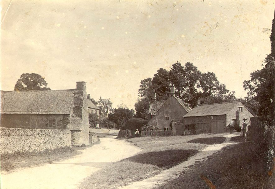 A view of Cherington village in 1895.It has ben suggested that the view is of a road in Stourton not Cherington. The road goes to Whichford. |  IMAGE LOCATION: (Warwickshire County Record Office)