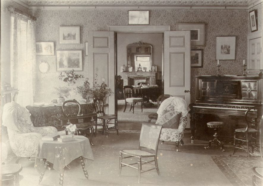Interior of a house in Cherington, possibly Cherington House.  1895 |  IMAGE LOCATION: (Warwickshire County Record Office)