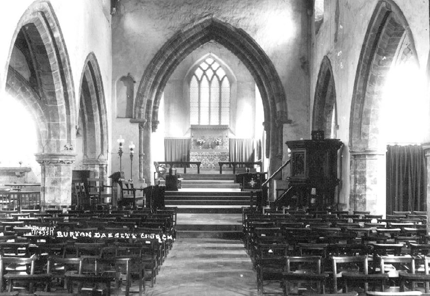 All Saints Church, Burton Dassett, interior looking east.  1930s    IMAGE LOCATION: (Warwickshire County Record Office)