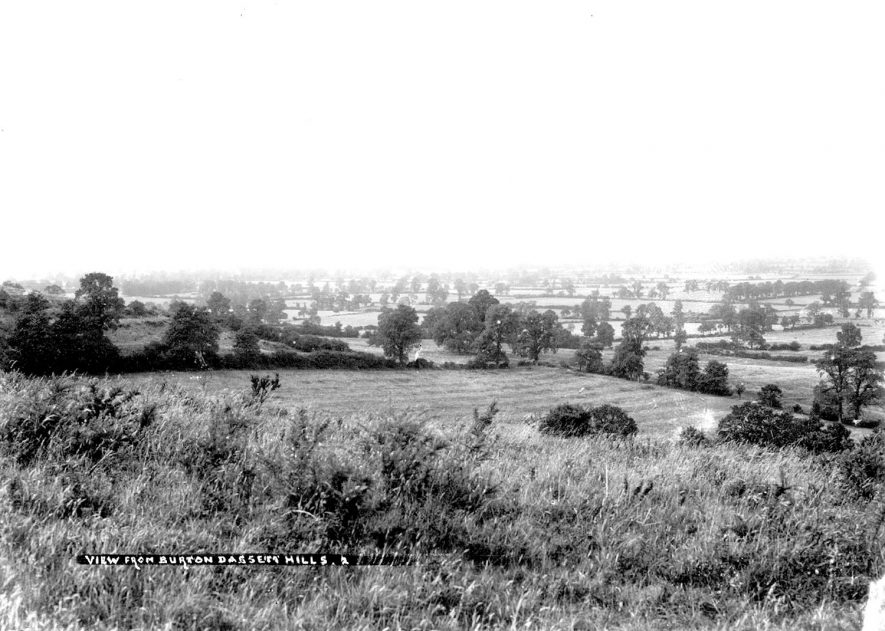 View of the countryside from the Burton Dassett Hills.  1900s |  IMAGE LOCATION: (Warwickshire County Record Office)