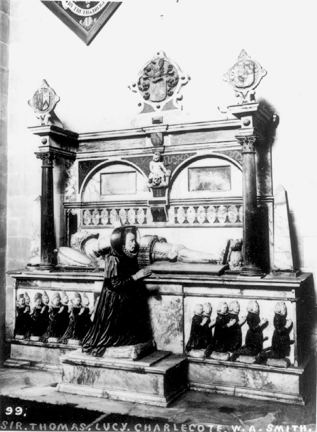 Sir Thomas Lucy's tomb in Charlecote Church.  1900s |  IMAGE LOCATION: (Warwickshire County Record Office)
