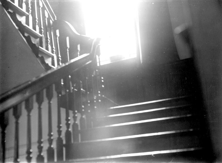 Charlecote Park house staircase.  1900s |  IMAGE LOCATION: (Warwickshire County Record Office)