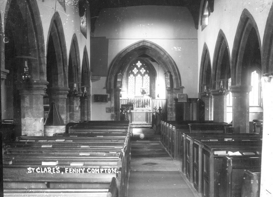 Interior of St Clare's Church, Fenny Compton, looking east.  1910s |  IMAGE LOCATION: (Warwickshire County Record Office)