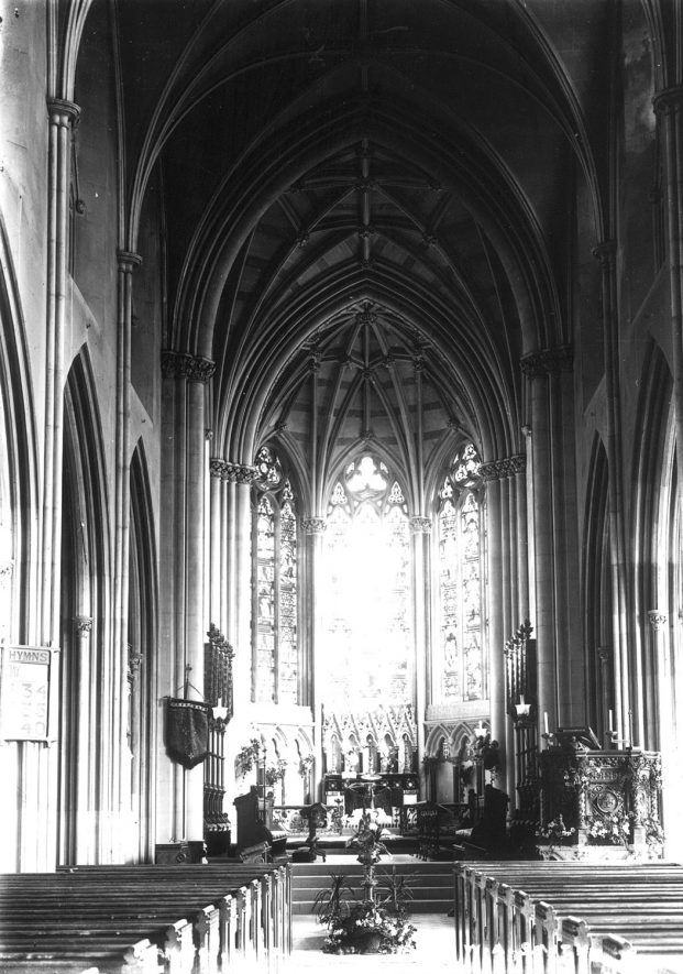 St Peter's Church, Hampton Lucy, interior looking east.  1900s |  IMAGE LOCATION: (Warwickshire County Record Office)