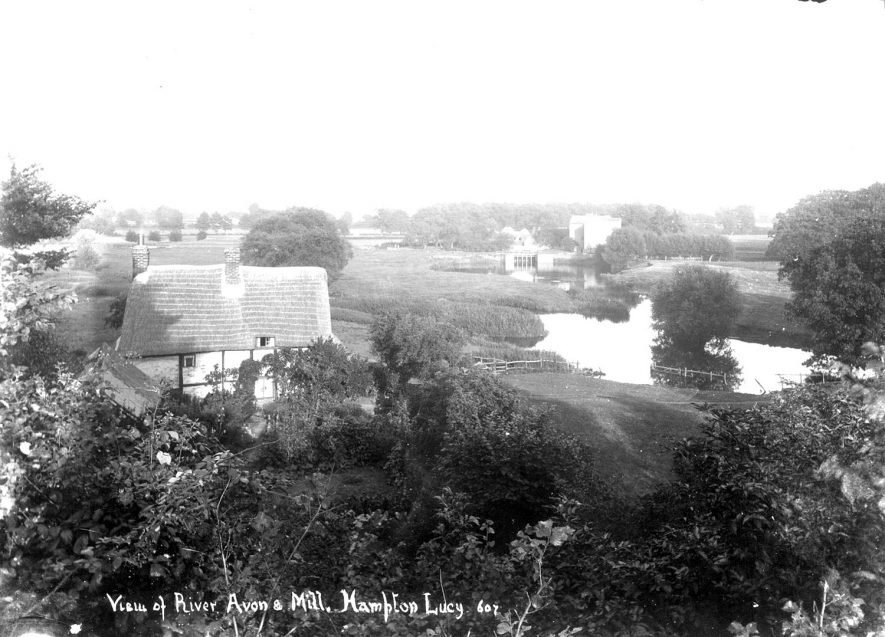 View of the River Avon and mill at Hampton Lucy.  1900s |  IMAGE LOCATION: (Warwickshire County Record Office)