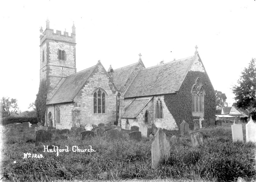 Exterior view of St Mary's church and churchyard, Halford.  1910s |  IMAGE LOCATION: (Warwickshire County Record Office)
