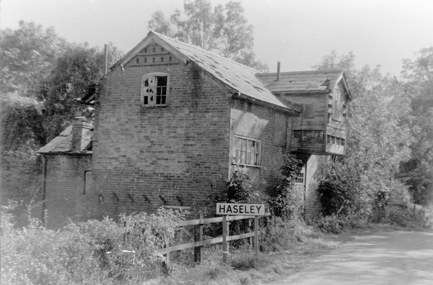 Haseley water mill showing the main structure still intact but very dilapidated. The date of closure is thought to have been in the 19th century. Sluice gates and grain chute still visible. The premises were used as a brickyard after flour milling ceased. Demolished in 1978.  1950s |  IMAGE LOCATION: (Warwickshire County Record Office)