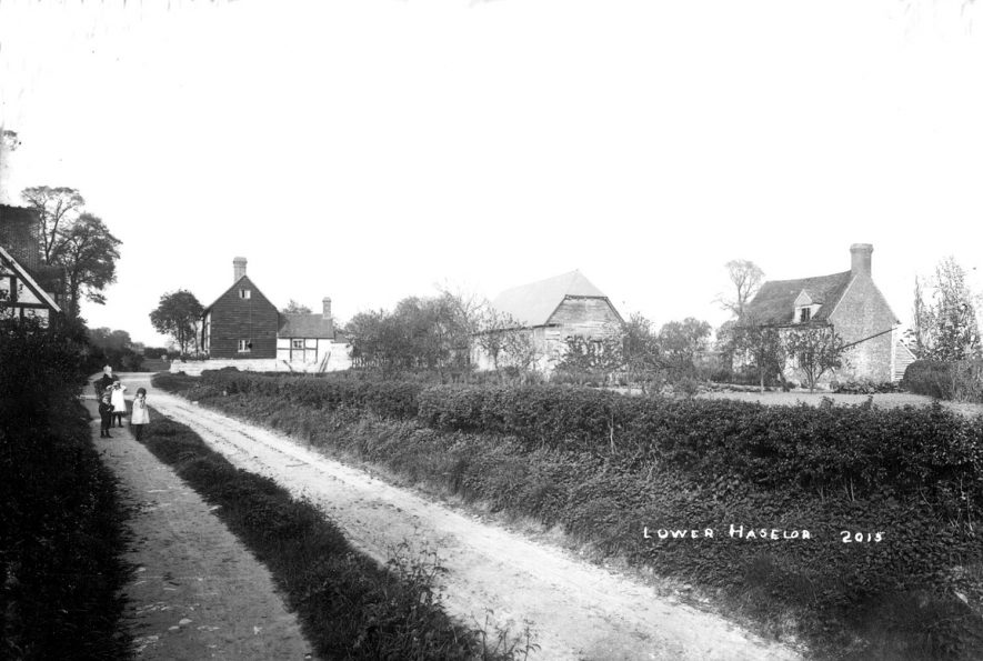 A lane leading to Lower Haselor with cottages and barn in the background.  1900s |  IMAGE LOCATION: (Warwickshire County Record Office)